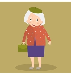 Old woman walking with bag grandmother vector