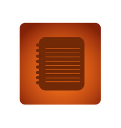 Orange square frame with silhouette notebook with vector