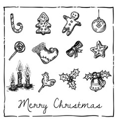 set of christmas-themed elements vector image