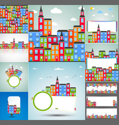 Set of color city backgrounds vector