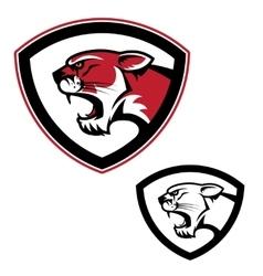 Shield emblem template with puma head design vector