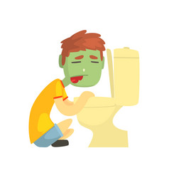 Sick boy vomiting into the toilet bowl cartoon vector