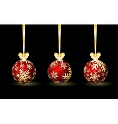 Three red Christmas spheres vector image vector image