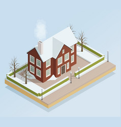 Winter house outdoor isometric view vector