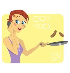 Woman talking on the phone while cooking vector image