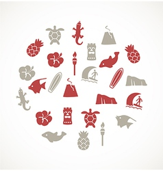 Hawaii icons vector image