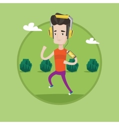 Man running with earphones and smartphone vector