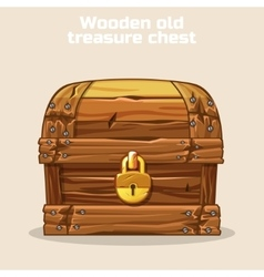 Wooden old antique treasure chest vector image