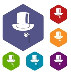 Hat with monocle icons set vector