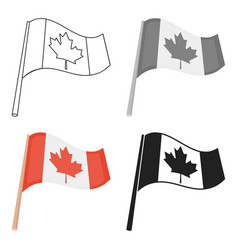 canadian flag icon in cartoon style isolated on vector image
