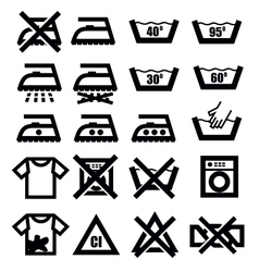 Washing signs and clothes vector