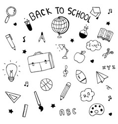 back to school hand drawn doodle vector image