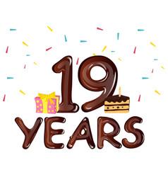 Nineteen years anniversary celebration vector