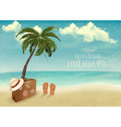 Vintage seaside background with suitcase and a hat vector