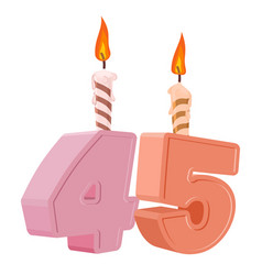 45 years birthday number with festive candle for vector