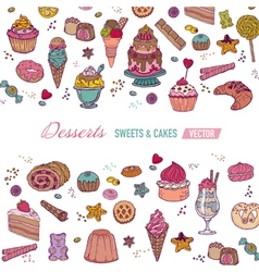 Colorful Card or Brochure with Cakes Sweets vector image