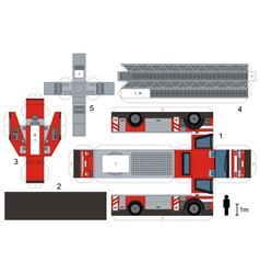 Paper model of a fire truck vector