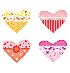 ornamental colorful hearts vector image
