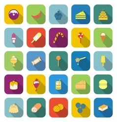 Dessert color icons with long shadow vector