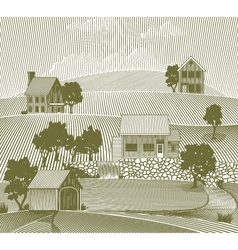 woodcut folk art village vector image