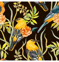 Seamless pattern of birds and plants vector image