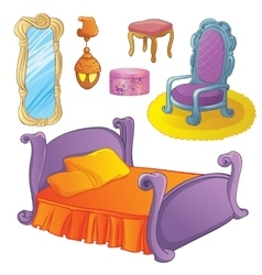 Furniture set for fairy bedroom vector