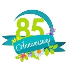 Cute nature flower template 85 years anniversary vector