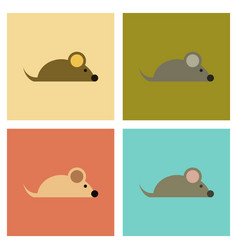 Assembly flat icons pet mouse vector