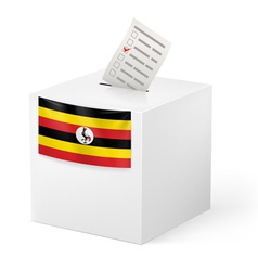 Ballot box with voting paper uganda vector