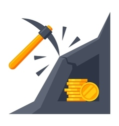 Bitcoin mining icon vector