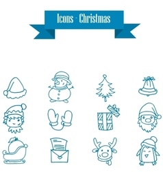 Blue icons of holiday and christmas vector