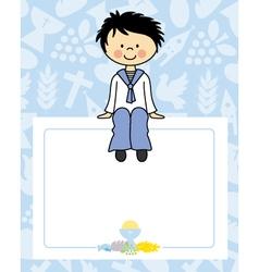 Boy communion card vector