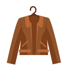 Brown shortened leather jacket with collar and vector