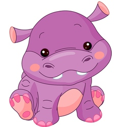 cartoon hippo vector image vector image