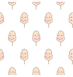 Cotton candy kawaii seamless pattern vector