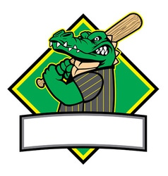 crocodille baseball player vector image vector image