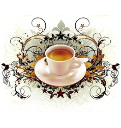 cup of coffee with ornate elements vector image