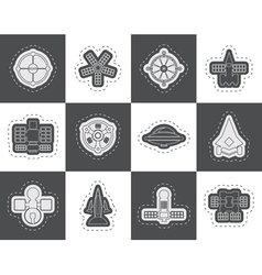 different kinds of future spacecraft icons vector image vector image