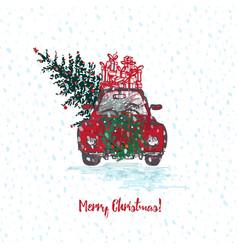 festive christmas card red car with fir tree vector image