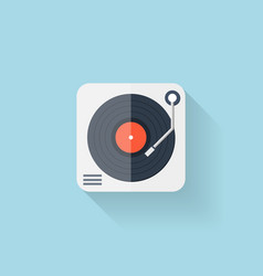 Flat web icon Vinyl player vector image vector image