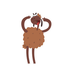 Funny sheep character standing on two legs with vector