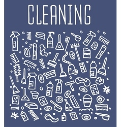 Hand drawn cleaning tools seamless logo vector image vector image