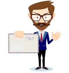 Happy Man Delivering Mail Over White Background vector image vector image