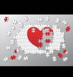 Jigsaw pieces broken heart vector