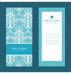 Light blue swirls damask vertical frame vector