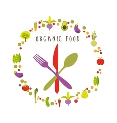 Organic food menu design vector