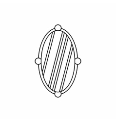 Oval mirror icon in outline style vector