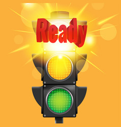 Ready red text traffic light vector