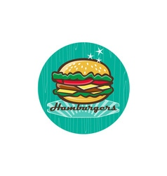 Retro 1950s diner hamburger circle vector