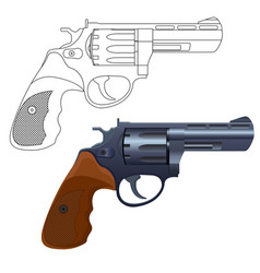 Revolver gun outline icon and 3d model vector